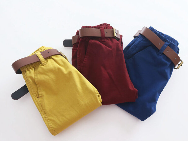 Free Shipping New Arrival 2015  Baby Boys Autumn Spring  Long Pants Kids Solid Cargo Pants Boys Belt Casual Trousers(China (Mainland))