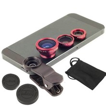 Universal 3 in 1 Clip-On Fish Eye+Wide Angle+Macro Lens Mobile phone Black Silve Red Lens For samsung For iPhone Motorola JT01+