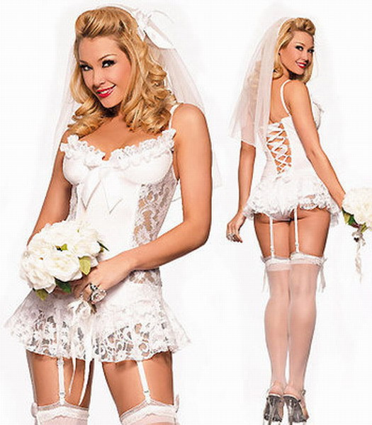 2014 Sexy White Bride Fancy Dress Costume,Brides Basque, Veil Costume 7R1067 Free shipping Sexy bride costume(China (Mainland))