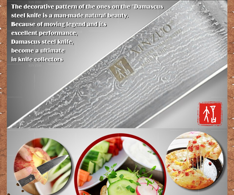 "Buy XINZUO 5"" inch utility knife Damascus steel kitchen knives paring cutter kitchen tool damascus steel utility knife FREE SHIPPING cheap"