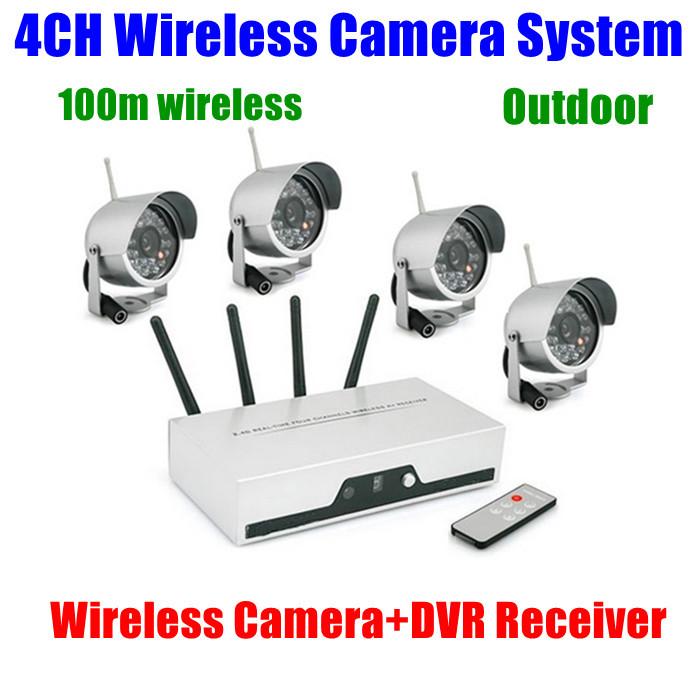 4CH Cameras Wireless DVR Receiver kit wifi Quad Video Audio CCTV Home Security camera System Nightvision Waterproof Outdoor<br><br>Aliexpress
