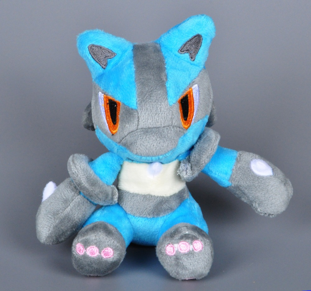 14cm Pocket Monster plush toy Cartoon Lucario stuffed doll Sweet Cute plush toy kids toy Lucario doll for children Birthday Gift(China (Mainland))
