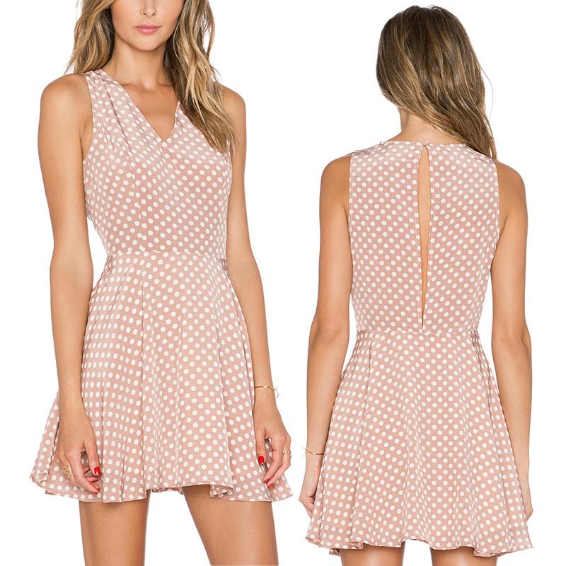 2015 Summer Dress print Dresses Dress polka dot Casual Dresses sleeveless V Neck plus size Pink dress For women Y60*E3489*S7(China (Mainland))