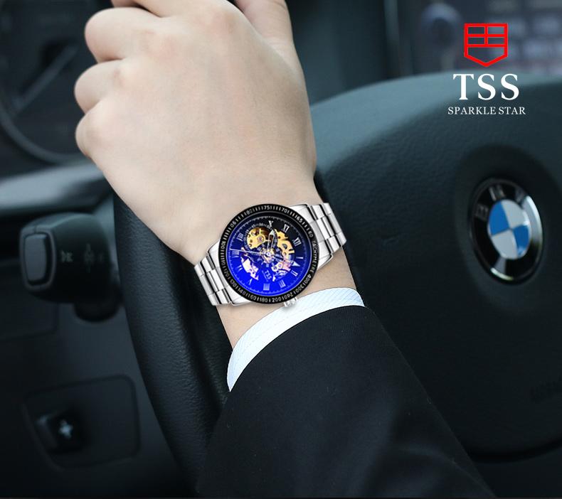 TSS подлинной мужской моде автоматические механические часы полые мужской стол световой часы водонепроницаемые нержавеющей стали бизнес