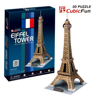 Candice guo! 3D puzzle toy CubicFun world's great architecture 3D paper model jigsaw game Eiffel Tower(China (Mainland))