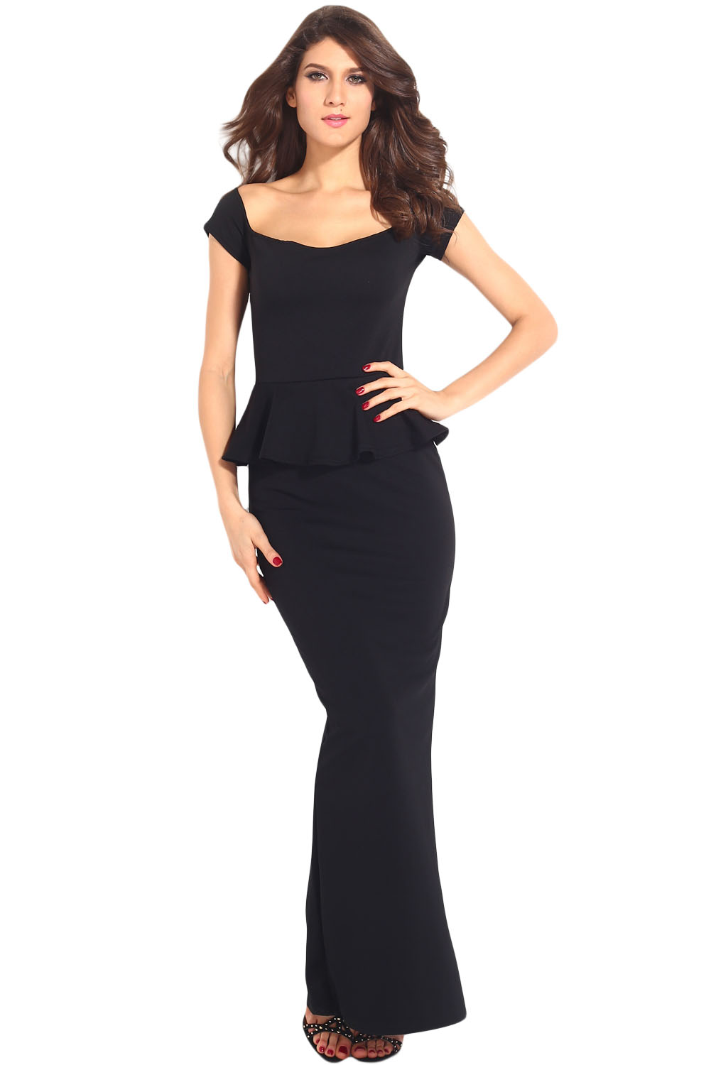 This black dress is perfect to wear to work or semi formal events. It has short sleeves, a comfortable t-shirt neckline, and a flared waistline. The skirt reaches to the knee.