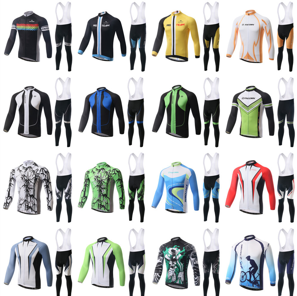 Cool Cycling Jerseys Suits Bib Long Sleeve Winter Mens Bike Bicycle Sports Ride Shirts Pants - Tobe The Best store