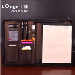 A4 zipper senior leather business manager conference file folder organizer for sales real estate with ipad pocket W020(China (Mainland))