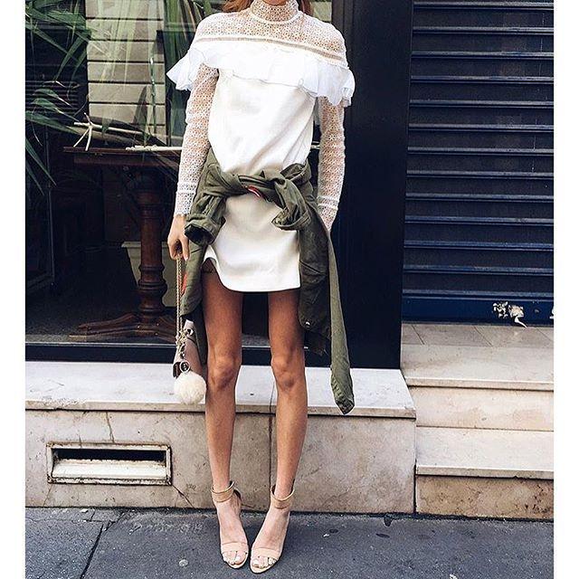 Автопортрет 2016 симпатичный мини белый кружевном платье
