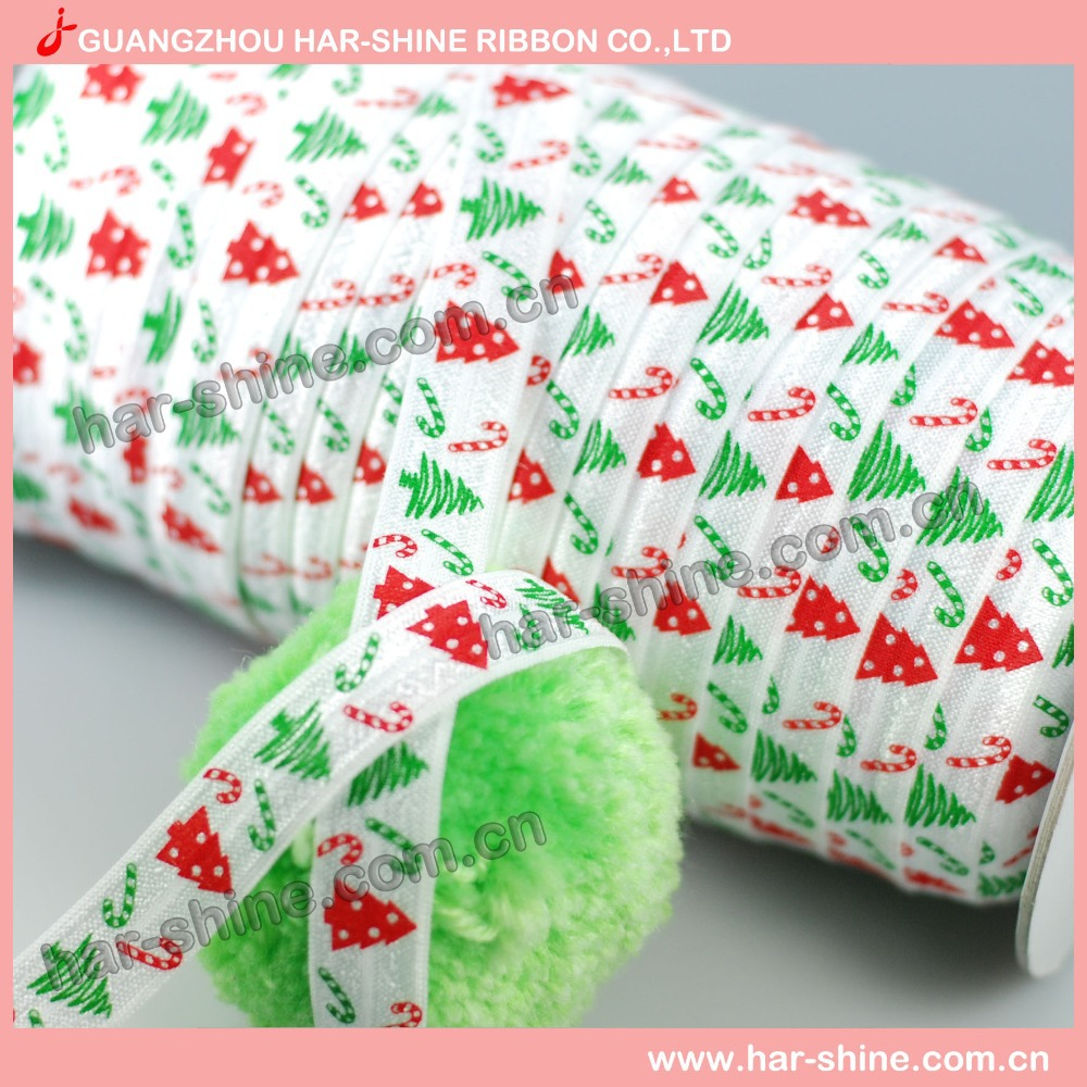 DIY design~5/8inch 50yard Free shipping Christmas tree Stretch Fold Over Elastic Christmas ribbon(China (Mainland))
