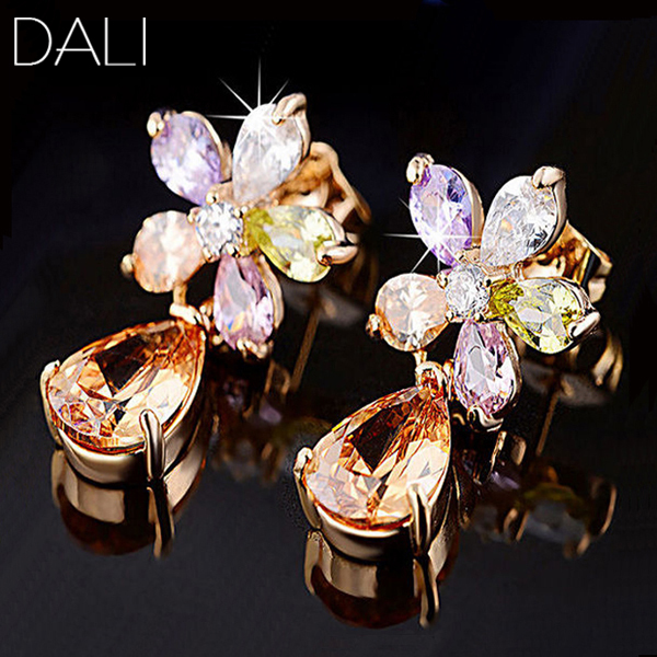 DALI Unique 18K Rose Gold Plated Stud Earring with AAA Pear Cut Austrian CZ Crystal Earrings DDE13(China (Mainland))