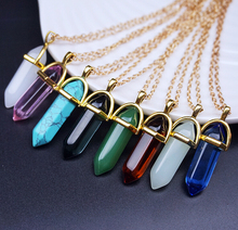 Buy Natural Stone Bullet Shape Healing Point Pendant Necklaces Gem Crystal Stone Quartz Pendant Necklace Women Jewelry N191 for $1.05 in AliExpress store