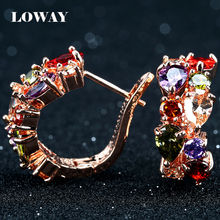 LOWAY Many Colors Flower Cubic Zirconia Gold Plated Earrings Women Fashion Jewelry Factory Wholesale Brincos ED2905