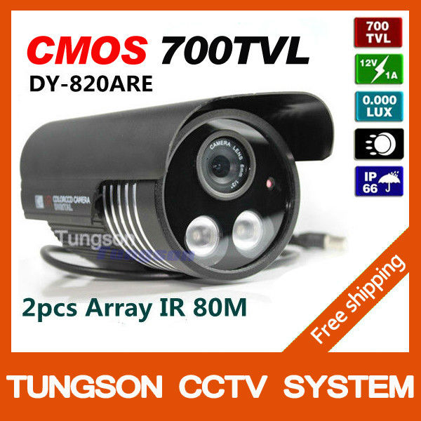 Factory store CMOS 700TVL Video Surveillance Outdoor Waterproof 2 Array IR LED Night Vision Black Bullet Security CCTV Camera(China (Mainland))