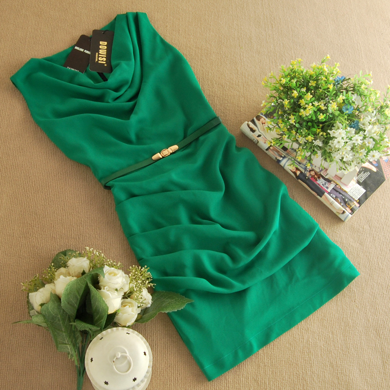 rockabilly green dress summer style Women work clothes hippie Style Draped Collar Design Office Dress with belt vestido de festa(China (Mainland))