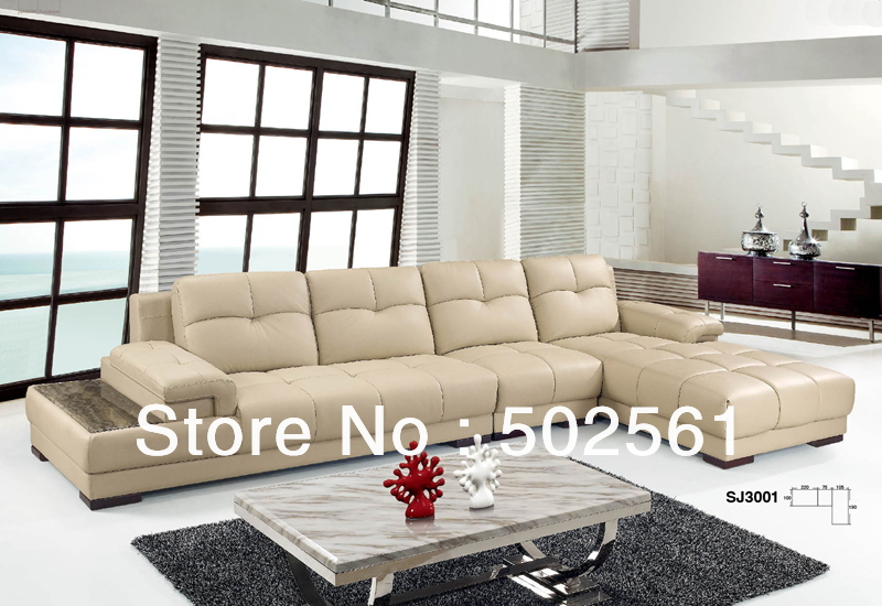 Leather corner sofa set european american style living room furniture