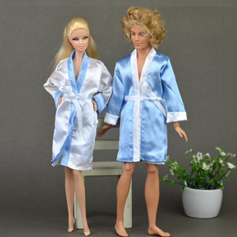 2pcs/set Bedroom Pajamas Robe Nighty Bathrobe Clothes For Barbie Dolls Robe & Shorts For Ken BJD Doll Child Kids Best toys gift(China (Mainland))