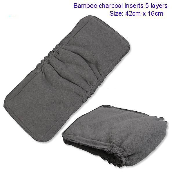(30 pieces/lot) Organic Bamboo Cotton / Charcoal Gussets Cloth Diaper Inserts Anti-leak Bamboo Diaper Liners .(China (Mainland))