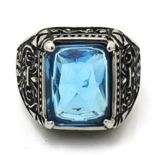 Mens Boys 316L Stainless Steel Cool Blue Crystal Ring