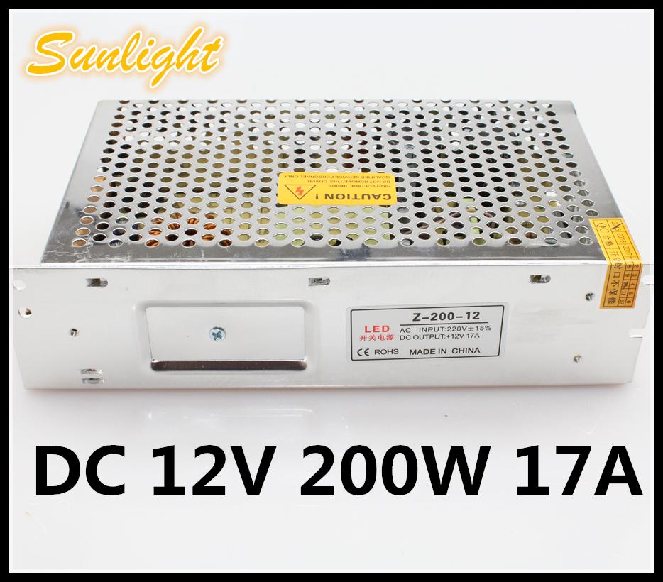 Switching LED Power Supply Insulator aluminium AC 220V 50~60HZ to DC 12V 17A 200W driver Power Supply lighting transforme(China (Mainland))