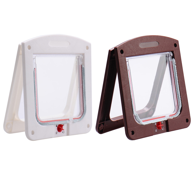 New Durable Plastic 4 Way Locking Magnetic Pet Cat Door Small Dog Kitten Waterproof Flap Safe Gate Safety Supplies(China (Mainland))