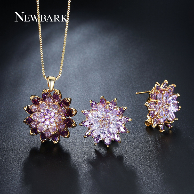NEWBARK Bohemia Jewelry Sets Purple And Yellow Colors 18k Gold Plated Necklace And Earings Fashion Jewelry For Women<br><br>Aliexpress