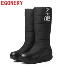 EGONERY 2017 de invierno nuevo venir señora botas de nieve invierno de las mujeres de moda zapatos calientes de la mujer rodilla botas altas de piel más el tamaño 44 de la NC mujer(China (Mainland))