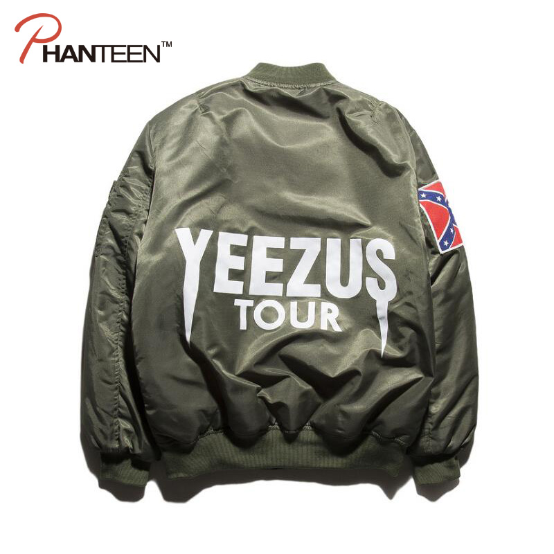 Unique Brand Yeezus Kanye West Jacket Thick Witer Men Air Force Jackets Fashion Casual Streetwear Cotton Man Baseball Coat