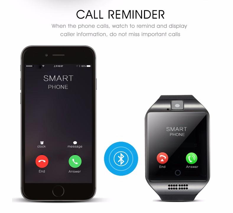 ถูก Q18 smart watch p assometerสวมใส่อุปกรณ์บลูทูธเชื่อมต่อนาฬิกาสนับสนุนซิมการ์ดโทรศัพท์smartwatchสำหรับandroid pk gt08 dz09
