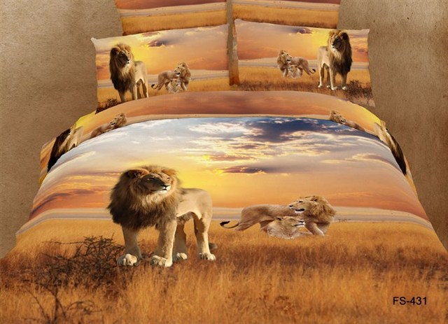 Personalized 3d three-dimensional tiger bedding animal scenery graphic patterns 100% activity of cotton duvet cover bed sheets