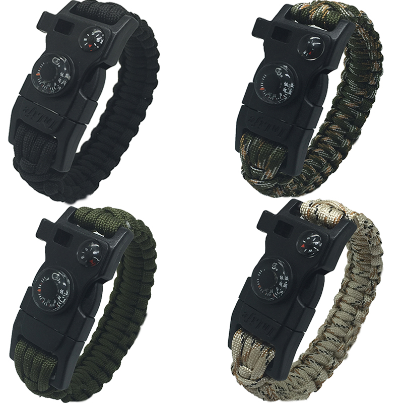 15 in 1 Survival Bracelet Flint Fire Starter Gear Escape Paracord Whistle Cord Buckle Camping Bracelets Rescue Rope Travel Kits(China (Mainland))