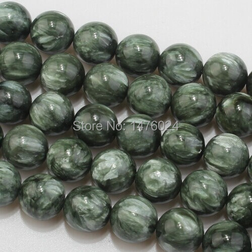 DIY Accessory Natural Seraphinite Bead 15inch 6 8 10 12mm Round Green Genuine Stone Loose Beads for Bracelet Jewelry Making(China (Mainland))
