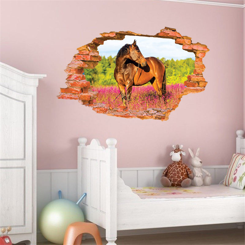 New arrival 3d horse wall stickers home decor sticker for for Home decor 3d wallpaper