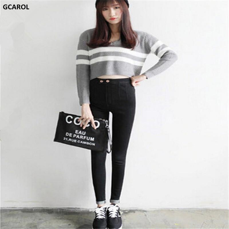 Women Korean High Waist Pencil Denim Jeans Slim Stretch Lycra Skinny Pants Bandage Capris For Spring Autumn Plus Size 34