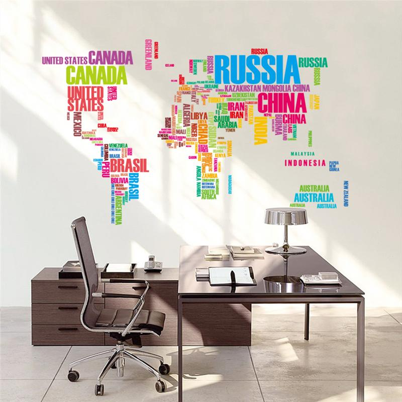 colorful letters world map wall living room home decorations creative pvc mural office(China (Mainland))