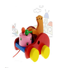 Hot Sale Wooden Bear Beats Drum Drag Car Truck Educational Toys Gift 1-3 years for Baby Kids Children(China (Mainland))