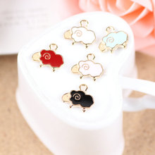 20PCS Kawaii Animal Sheep Jewelry DIY Charms Gold Tone Alloy Enamel Bracelet Necklace Floating Oil Drop Pendant Charm 15*16mm
