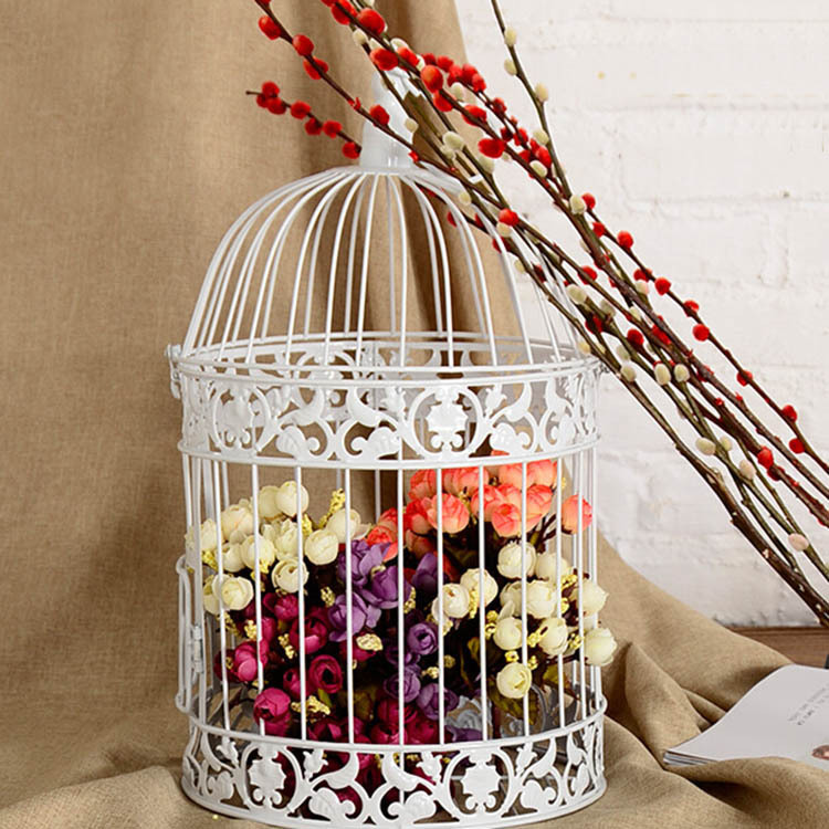 Classic white decorative bird cage for wedding metal caged for Decoration jardin metal