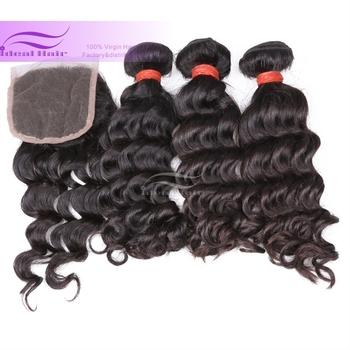 4pcs lot 6A brazilian human hair with lace closure middle part 4*4 deep hair 3 brazilian hair weave bundles with 1 closure