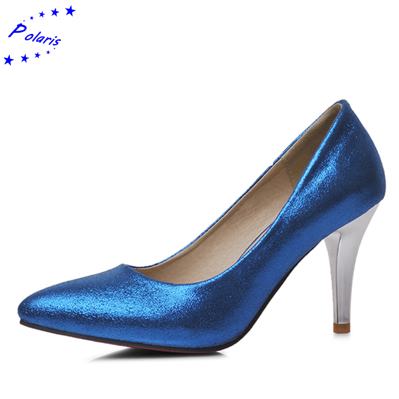 2016 Women Pumps Plus Size 31-43 New Arrival Fashion Sexy Elegant Pointed Toe Mid Heels Hot sale Women Shoes Gold Silver SH338(China (Mainland))