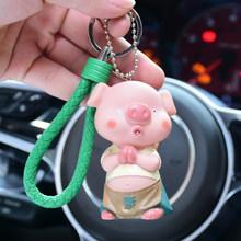Pele De Coelho Pom Pom Animal Bonito Porco dos desenhos animados Keychain Macio Criança boneca Sinos Mulheres Anel Chave Do Carro Chaveiro Bugigangas Porte Clef(China)