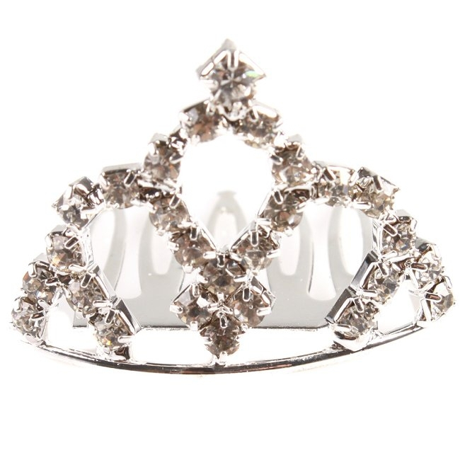 Women's Vogue Delicate Rhinestones Plated Crown Hair Clip Alloy Ornament Combs Tiaras Fashion(China (Mainland))