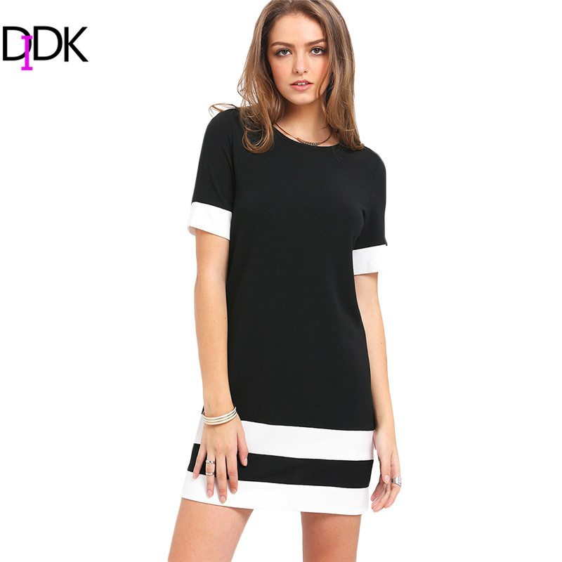 DIDK Womens Summer Dresses Ladies Casual Black and White Patchwork Short Sleeve Round Neck Color Block Sheath Mini Dress(China (Mainland))