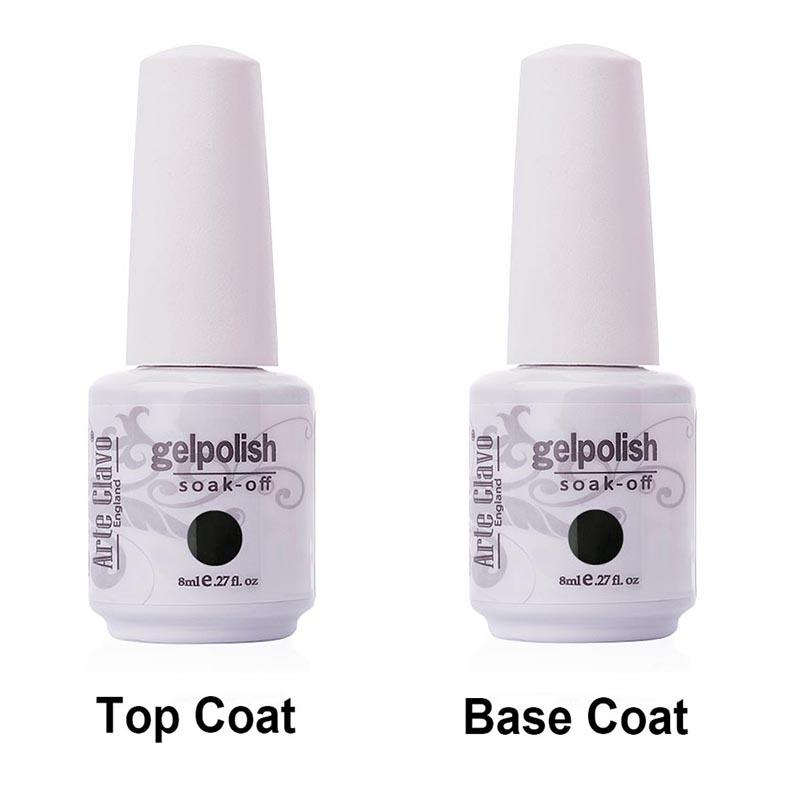 Arte Clavo Premium Quality No Wipe Top coat & Base Coat 8 ml Salon Manicure UV Gel Nail Lacquer Soak Off Nail Gel Polish(China (Mainland))