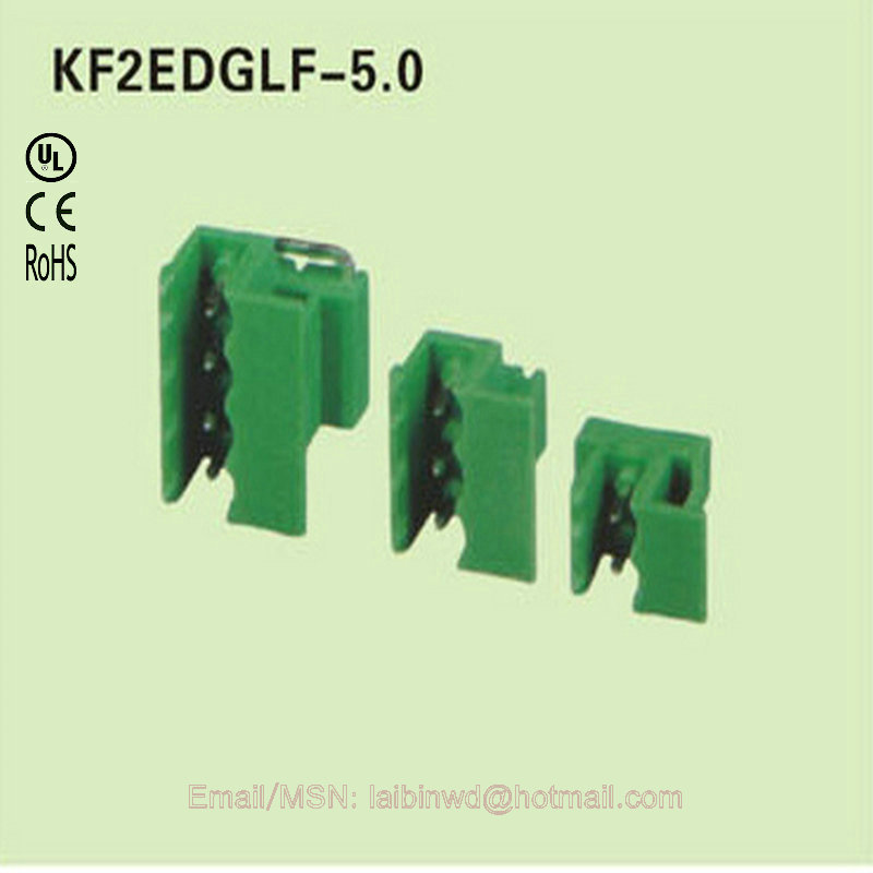 100 poles/lot 10A 300V pitch 5.0mm Staright pin Wire electrical connector KF2EDGLF-5.0 screwless terminal block(China (Mainland))