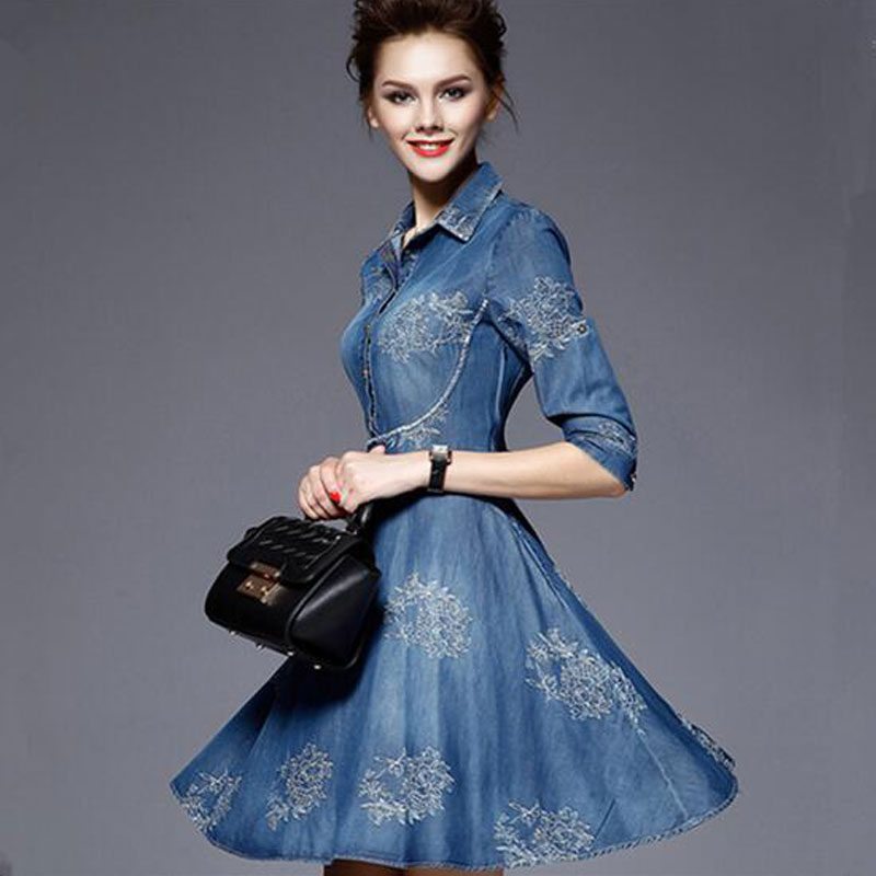 2016 Denim Dress Vintage Embroidery Plus Size Women Clothing Summer Half Sleeve Jeans Dress Ladies Thin Office Party Dresses Y48(China (Mainland))