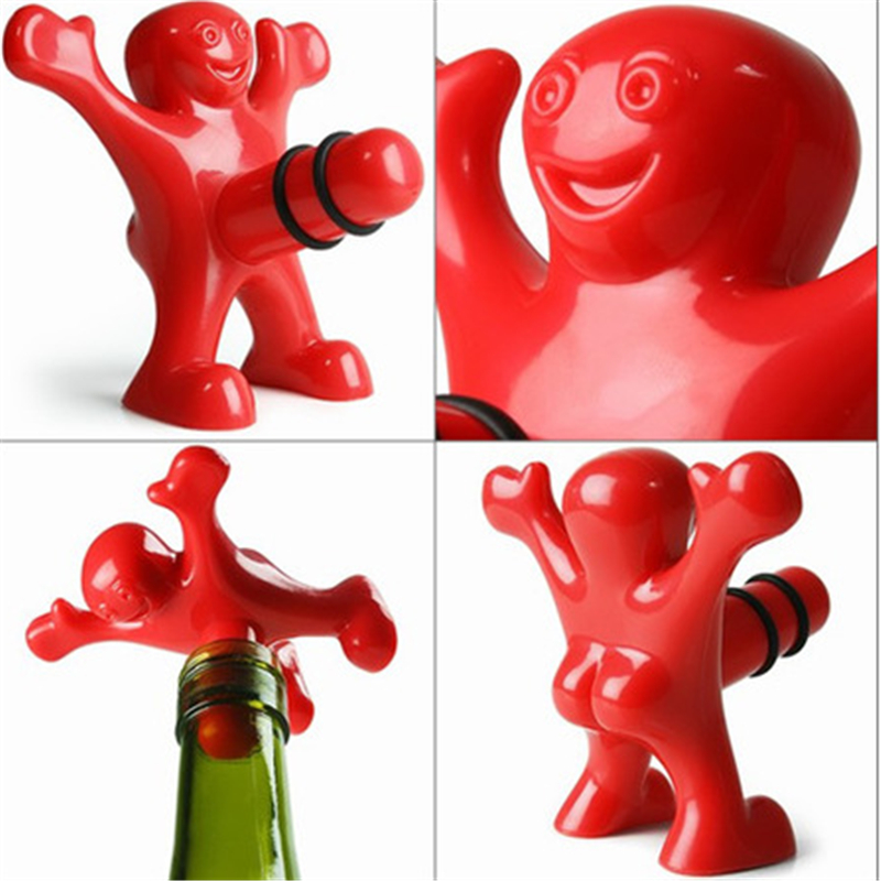 1 pc Red Fun Happy Man Wine Opener And Stopper Beer Opener Soda Bottle Novelty Bar Tools Wine Cork Plug Perky Creative Gifts(China (Mainland))