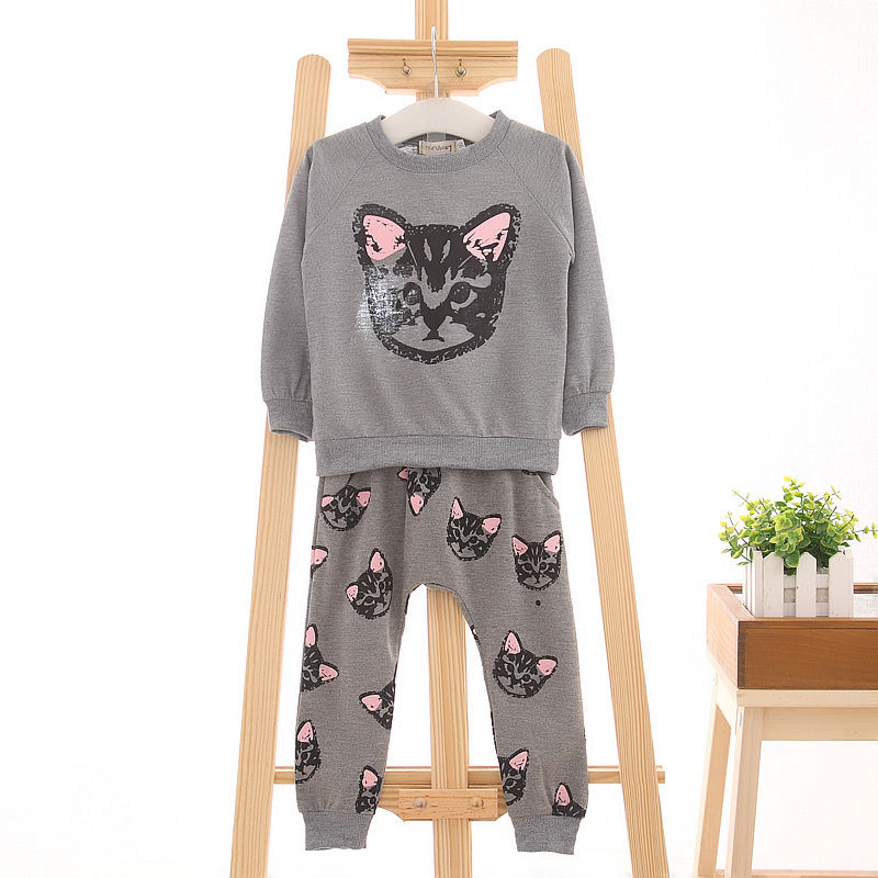 Children Girl clothes sets long sleeve sweatshirt and Pants Kids Outfits sport suit