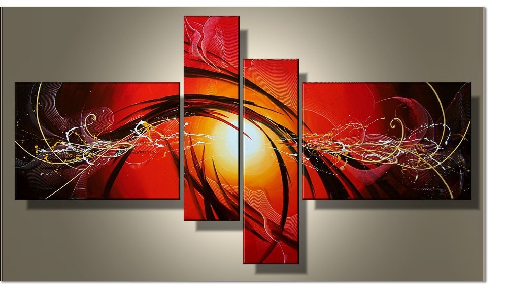 Current Fashion Canvas Painting Red Abstract Art 4 Piece Artwork Hand Painted Oil Pictures Home Living Room Entrance Decoration(China (Mainland))