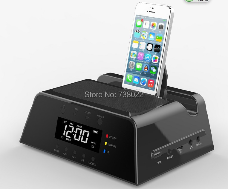 charging dock station speakers for iphone 5 4 4s samsung lcd fm radio alarm clock wireless. Black Bedroom Furniture Sets. Home Design Ideas